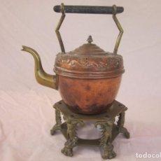 Antigüedades: ANTIGUA TETERA CON BASE DE BRONCE.. Lote 192268531