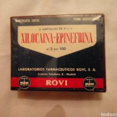 Antigüedades: MEDICAMENTO ANTIGUO. 5 AMPOLLAS XILOCAINA-EPINEFRINA. LABORATORIOS ROVI. ASTRA. ANESTESIA. Lote 207440058