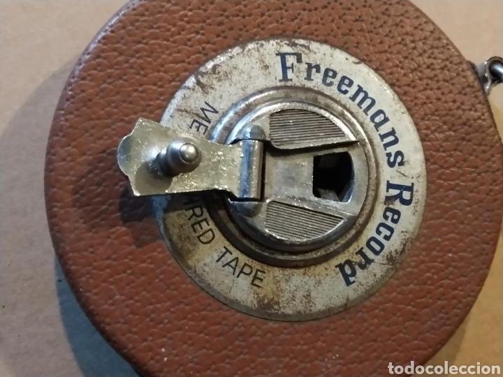 Antigüedades: Flexometro antiguo Freemans Record metal wired tape 20 metros - años 60/70 - Foto 2 - 192376530