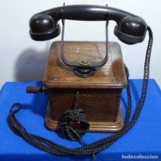 Teléfonos: ANTIGUO TELÉFONO PRINCIPIO S.XX EN BAQUELITA Y MADERA DE ROBLE.BIEN CONSERVADO . Lote 192755727