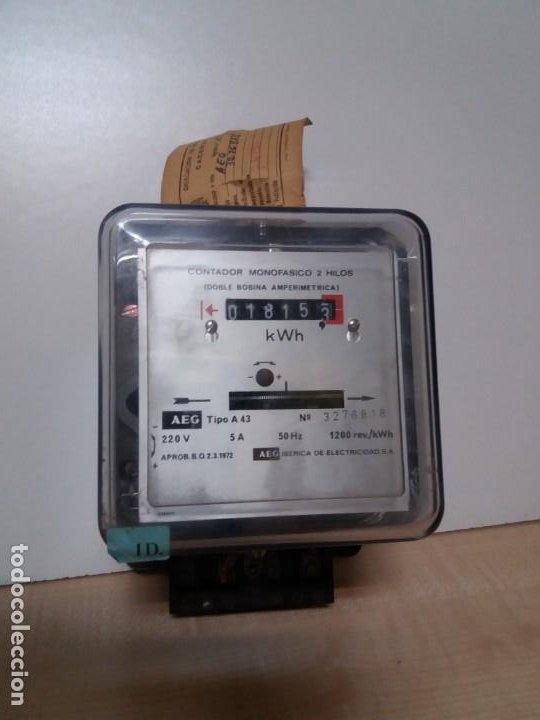 ANTIGUO CONTADOR ELECTRICO AEG VINTAGE AÑOS 70 MUY DECORATIVO (Antigüedades - Técnicas - Herramientas Profesionales - Electricidad)