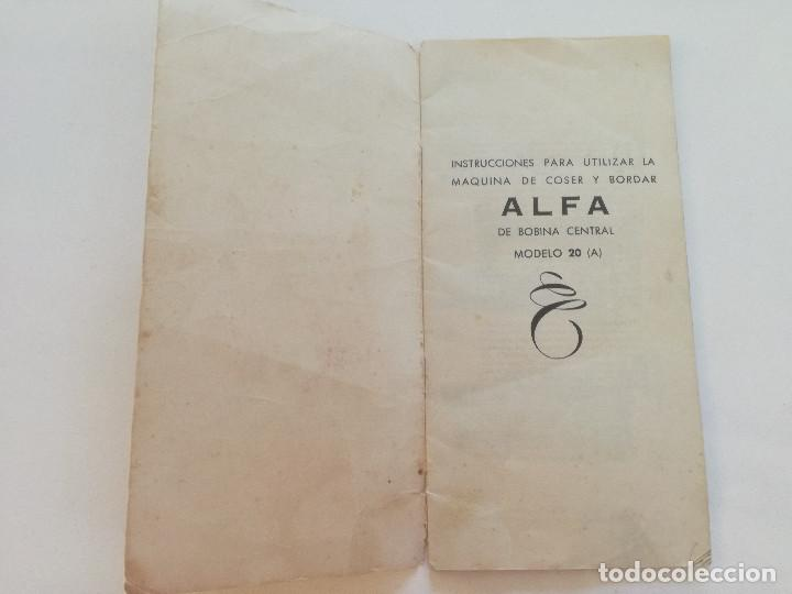 Antigüedades: ALFA MODELO 20 (A) // INSTRUCCIONES DE ANTIGUA MAQUINA DE COSER // EIBAR (ESPAÑA) - Foto 2 - 192882957