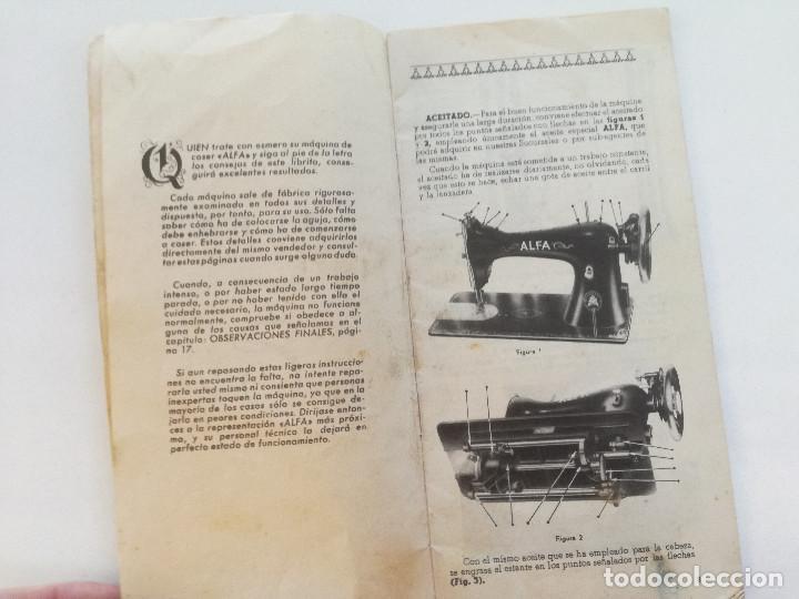 Antigüedades: ALFA MODELO 20 (A) // INSTRUCCIONES DE ANTIGUA MAQUINA DE COSER // EIBAR (ESPAÑA) - Foto 3 - 192882957