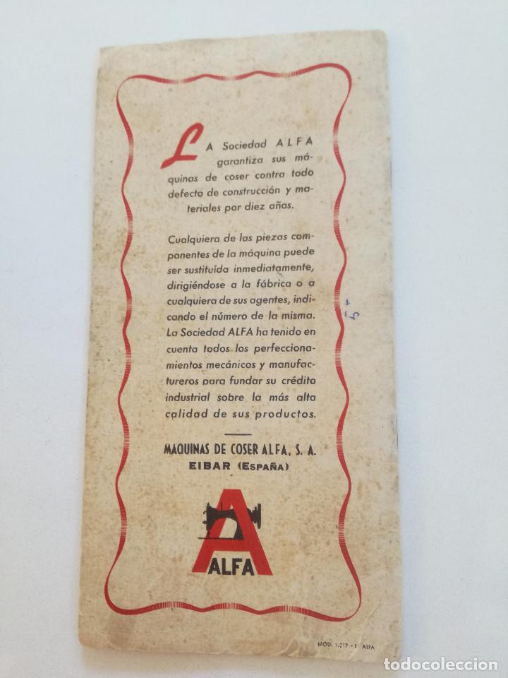 Antigüedades: ALFA MODELO 20 (A) // INSTRUCCIONES DE ANTIGUA MAQUINA DE COSER // EIBAR (ESPAÑA) - Foto 8 - 192882957