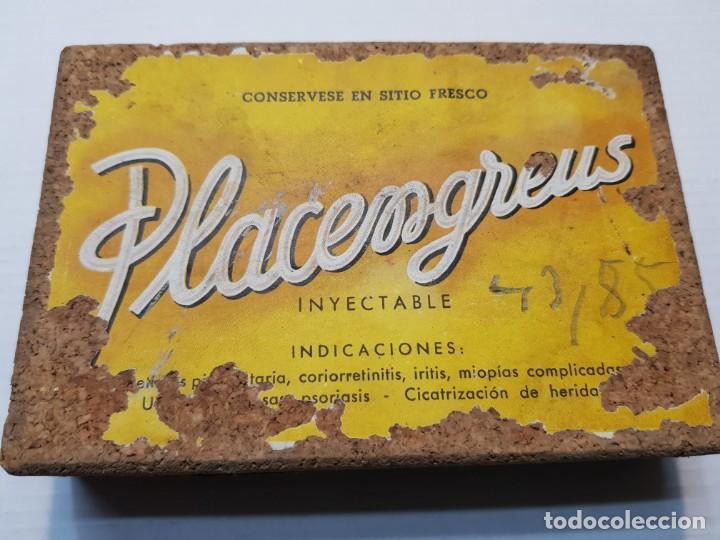 CAJA FARMACIA PLACENGREUS 1957 SELLADA RARA TIMBRE G.GUZMAN (Antigüedades - Técnicas - Herramientas Profesionales - Medicina)