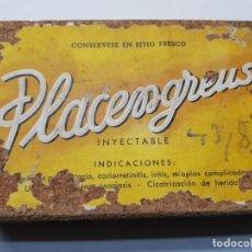 Antigüedades: CAJA FARMACIA PLACENGREUS 1957 SELLADA RARA TIMBRE G.GUZMAN. Lote 192932691