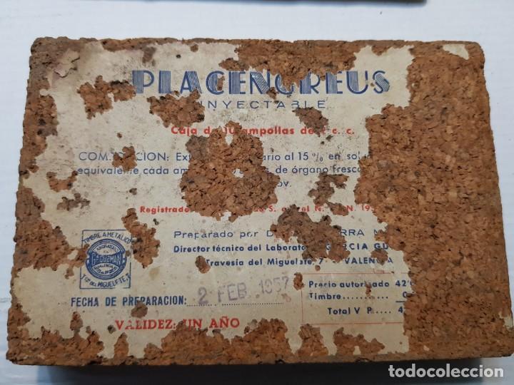 Antigüedades: Caja Farmacia Placengreus 1957 sellada rara timbre G.Guzman - Foto 3 - 192932691
