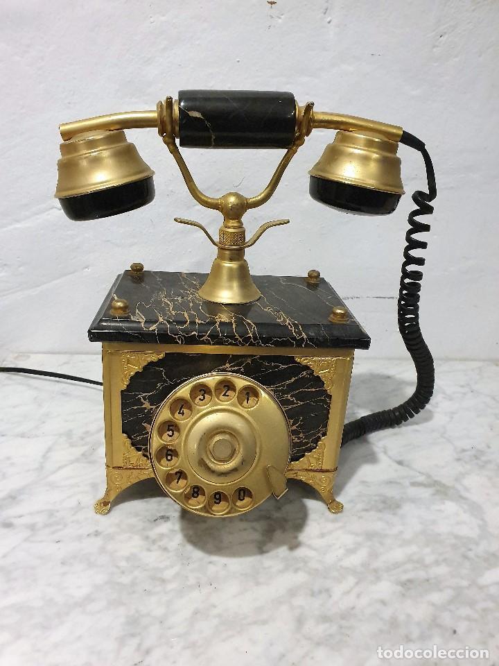 TELEFONO ANTIGUO MARMOL Y LATON (Antigüedades - Técnicas - Teléfonos Antiguos)