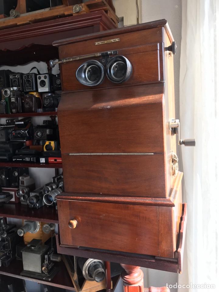 Antigüedades: Visor Estereoscopico con pie y placas de cristal auto classeur stereo 1900 - Foto 2 - 193271421