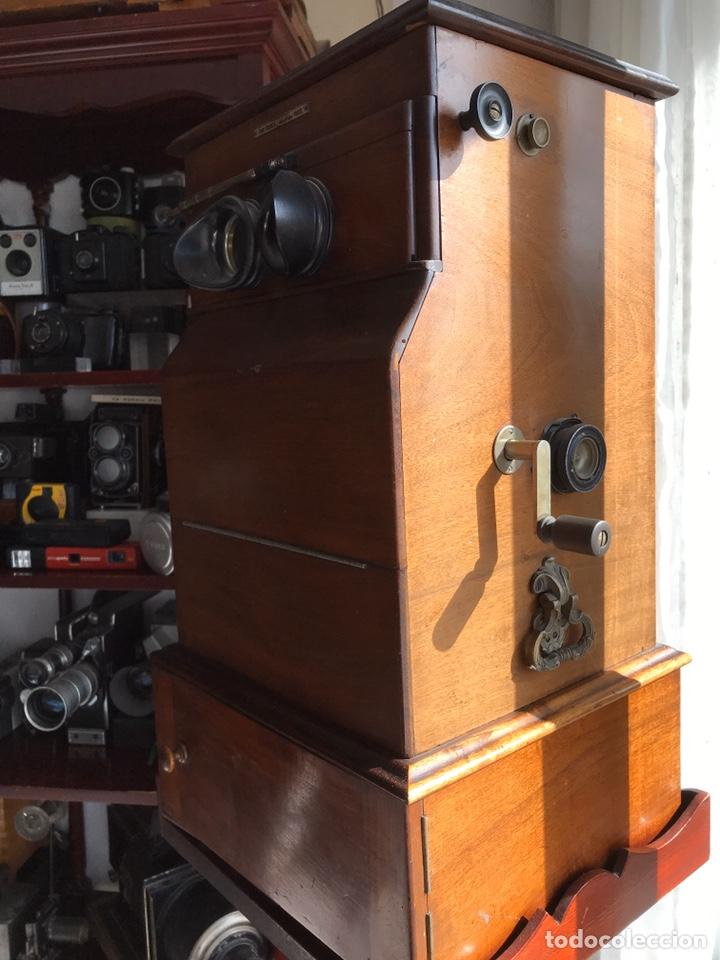 Antigüedades: Visor Estereoscopico con pie y placas de cristal auto classeur stereo 1900 - Foto 3 - 193271421