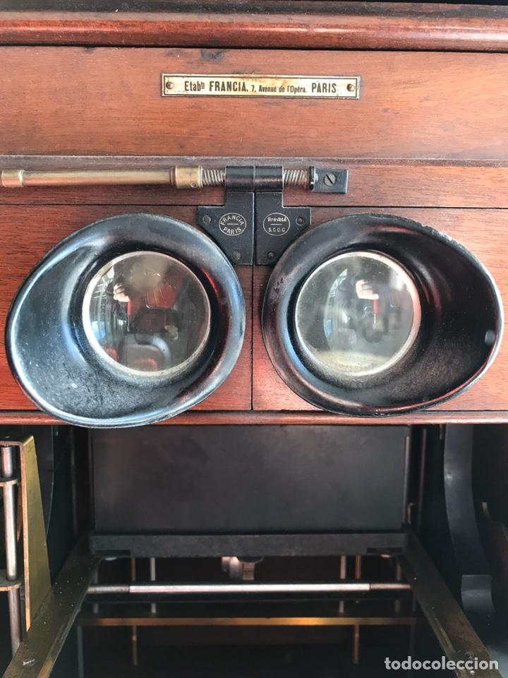 Antigüedades: Visor Estereoscopico con pie y placas de cristal auto classeur stereo 1900 - Foto 9 - 193271421
