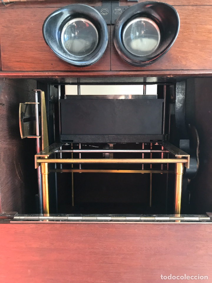Antigüedades: Visor Estereoscopico con pie y placas de cristal auto classeur stereo 1900 - Foto 10 - 193271421