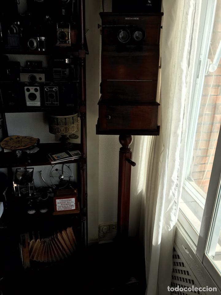 Antigüedades: Visor Estereoscopico con pie y placas de cristal auto classeur stereo 1900 - Foto 12 - 193271421