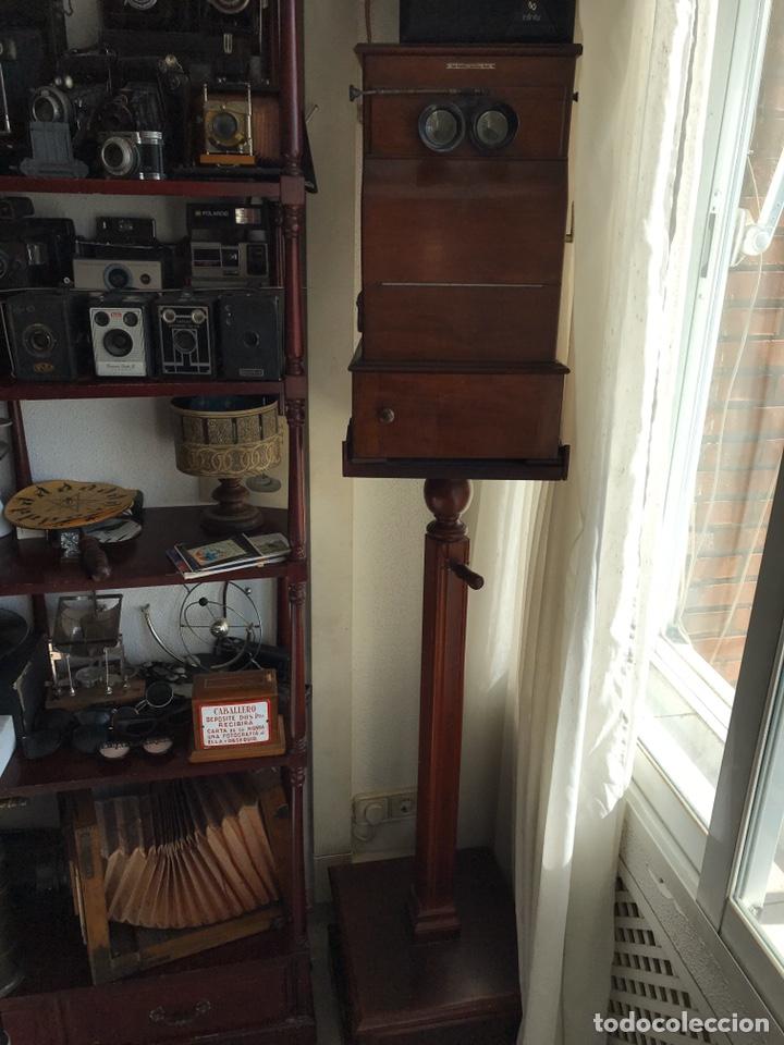 Antigüedades: Visor Estereoscopico con pie y placas de cristal auto classeur stereo 1900 - Foto 13 - 193271421
