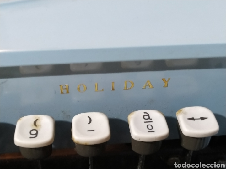 Antigüedades: Máquina de escribir portátil Remington Holiday azul - años 60 - Foto 10 - 193569868