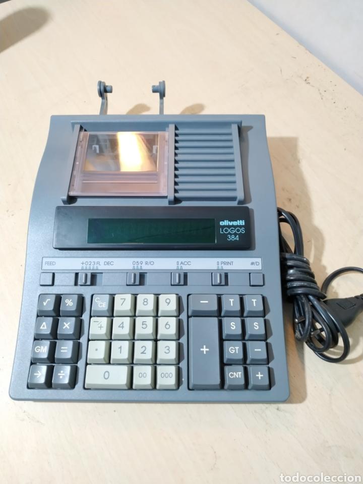 CALCULADORA ELÉCTRICA OLIVETTI LOGOS 384 FUNCIONANDO - AÑOS 80 (Antigüedades - Técnicas - Aparatos de Cálculo - Calculadoras Antiguas)