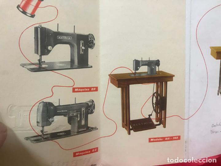 Antigüedades: antiguo catálogo maquinas para coser y bordar wertheim, dif. modelos y muebles, desplegable 8 hojas - Foto 6 - 193648111