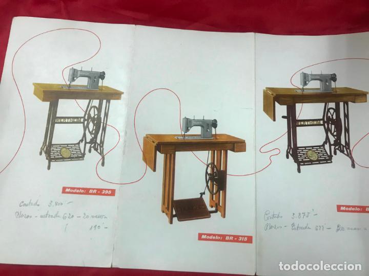 Antigüedades: antiguo catálogo maquinas para coser y bordar wertheim, dif. modelos y muebles, desplegable 8 hojas - Foto 7 - 193648111