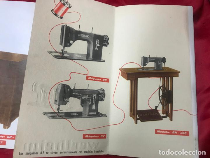 Antigüedades: antiguo catálogo maquinas para coser y bordar wertheim, dif. modelos y muebles, desplegable 8 hojas - Foto 11 - 193648111