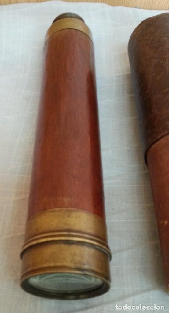 Antigüedades: Catalejo marino. Años 50. En latón y caoba. Origen británico. - Foto 3 - 193721208