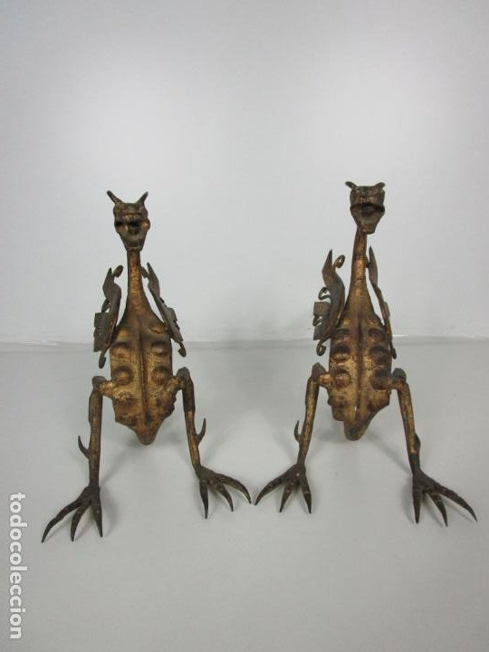 Antigüedades: Preciosa Pareja de Morillos - Dragones - Hierro Forjado y Dorado - Principios S. XX - Foto 19 - 193937798