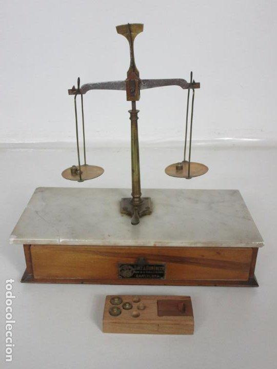 Antigüedades: Antigua Balanza de Joyero Chapa Soler & Domenech, Barcelona - con Pesas y Instrucciones - Foto 5 - 193942041