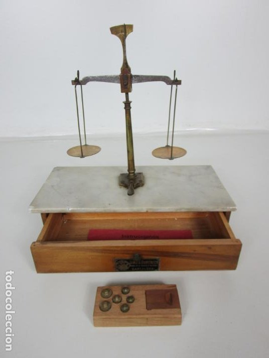 Antigüedades: Antigua Balanza de Joyero Chapa Soler & Domenech, Barcelona - con Pesas y Instrucciones - Foto 20 - 193942041
