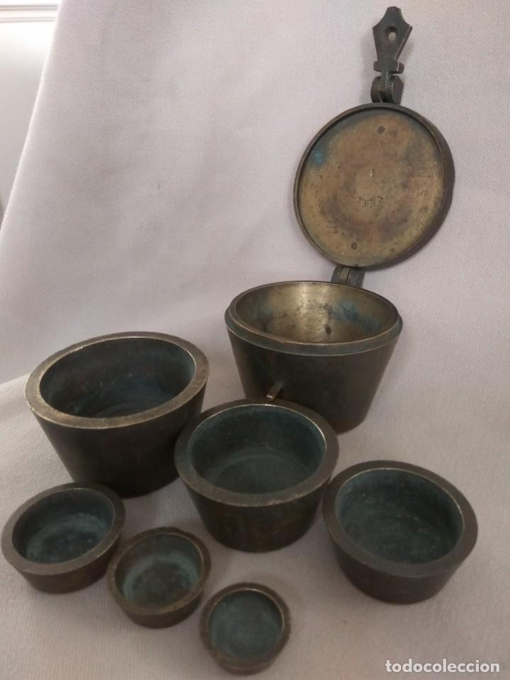 Antigüedades: PONDERAL DE VASOS ANIDADOS DE 2 LIBRAS, SIGLO XIX - Foto 16 - 193946192