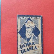 Antiguidades: FUNDA DE HOJA DE AFEITAR ' BOINA BLANCA - GRUESA ' // ( HOJAS 3 ). Lote 194117097