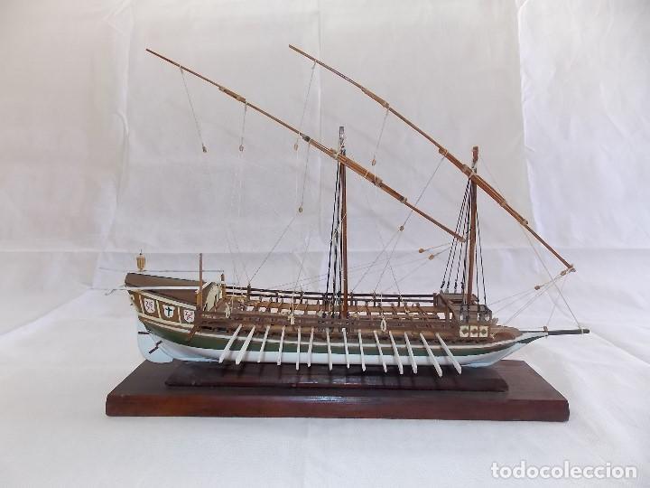MAQUETA BARCO REMOS NAVIO GALERA EN MADERA (Antigüedades - Antigüedades Técnicas - Marinas y Navales)