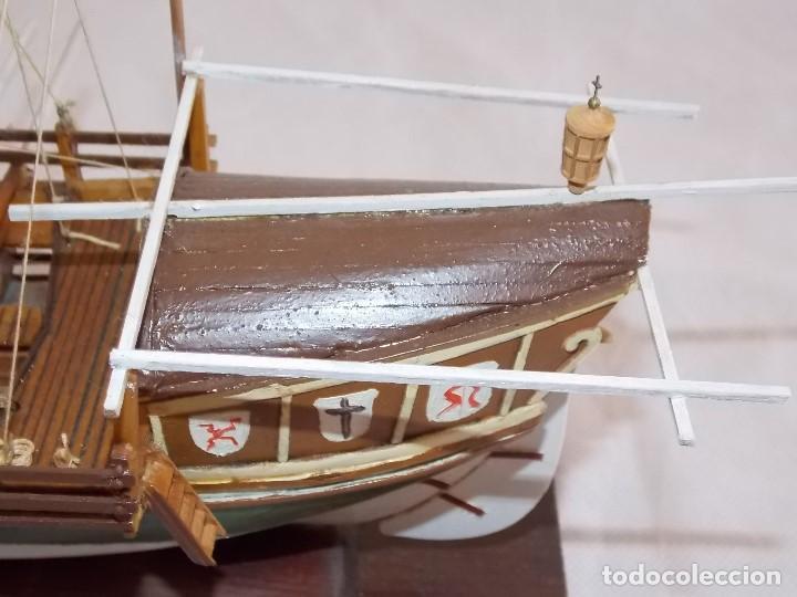 Antigüedades: MAQUETA BARCO REMOS NAVIO GALERA EN MADERA - Foto 9 - 194134243