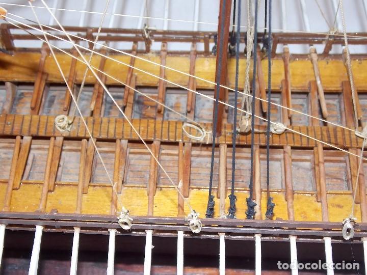 Antigüedades: MAQUETA BARCO REMOS NAVIO GALERA EN MADERA - Foto 10 - 194134243