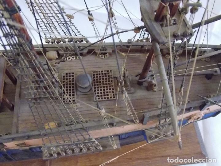 Antigüedades: MAQUETA BARCO NAVIO GALEON MILITAR EN MADERA - Foto 8 - 194136468