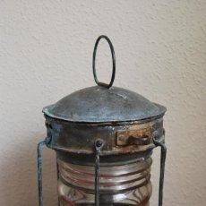 Antiquités: ANTIGUO FAROL DE BARCO - METAL Y CRISTAL. Lote 194176476
