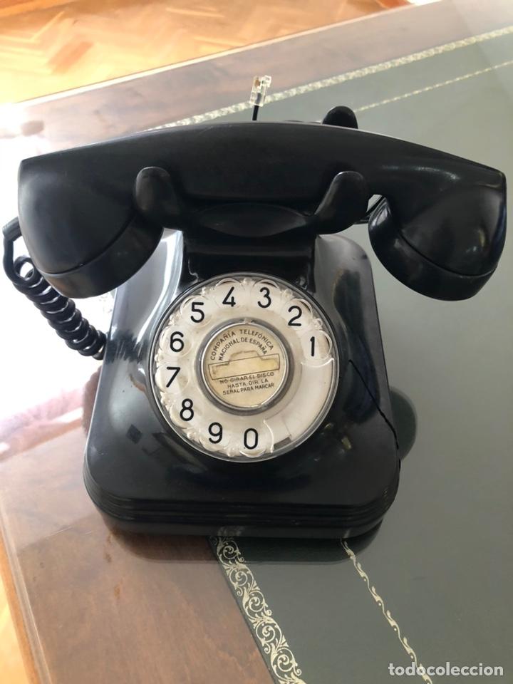 TELÉFONO COLOR NEGRO BAQUELITA (Antigüedades - Técnicas - Teléfonos Antiguos)