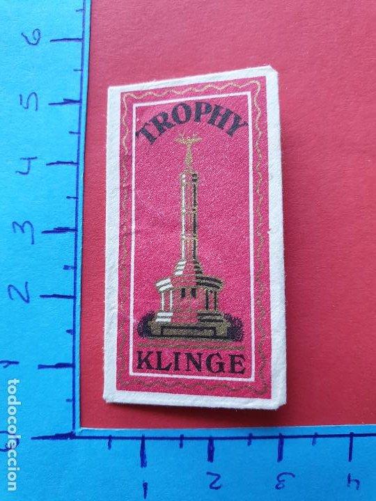 FUNDA DE HOJA DE AFEITAR ' TROPHY KLINGE ' // ( HOJAS 3 ) (Antigüedades - Técnicas - Barbería - Hojas de Afeitar Antiguas)