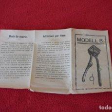 Antigüedades: MANUAL DE INSTRUCCIONES CORTADORA DE CABELLO MARCA PRÄNAFA. Lote 194218400