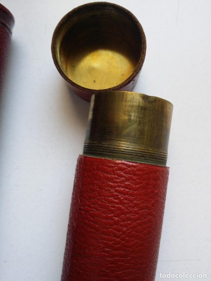 Antigüedades: PORTAMONEDAS CARTUCHO ANTIGUO DE BRONCE Y PIEL - Foto 4 - 194244901