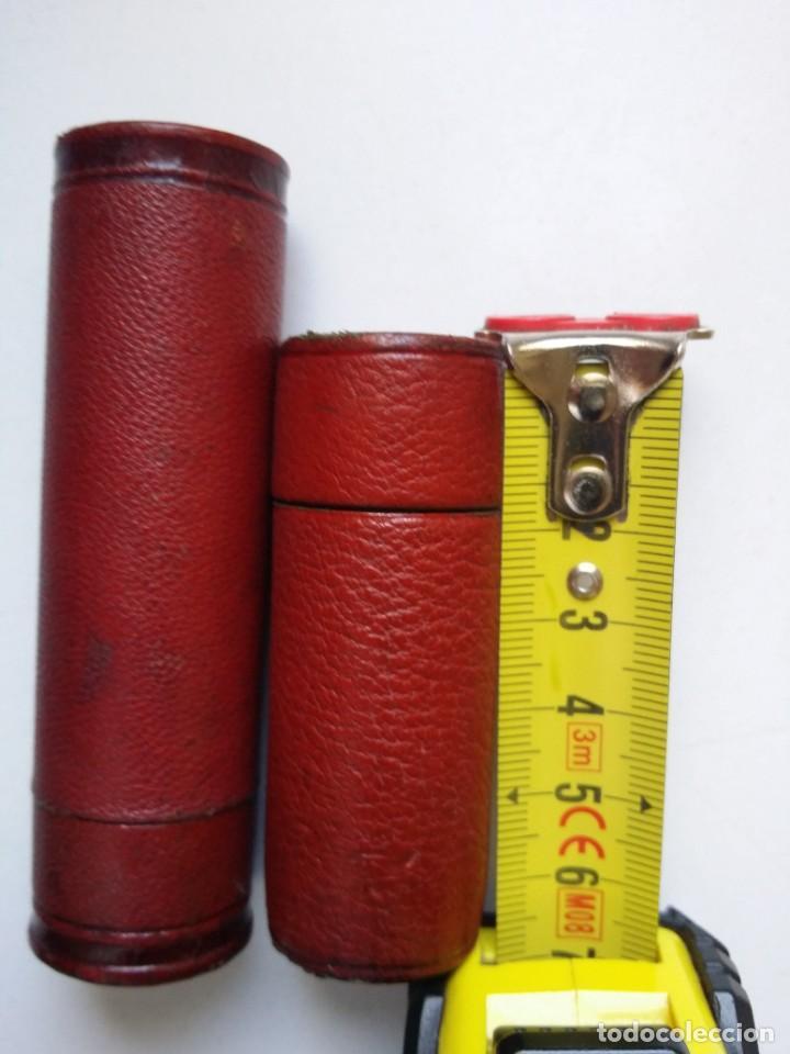 Antigüedades: PORTAMONEDAS CARTUCHO ANTIGUO DE BRONCE Y PIEL - Foto 6 - 194244901