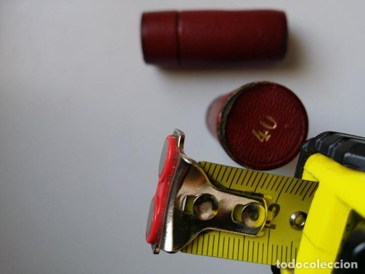 Antigüedades: PORTAMONEDAS CARTUCHO ANTIGUO DE BRONCE Y PIEL - Foto 7 - 194244901