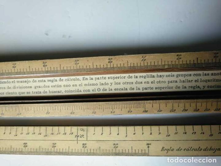 Antigüedades: REGLA DE CALCULO DE MADERA CON ESCALAS SOBRE PAPEL - DE PRINCIPIOS DEL PASADO SIGLO CALCULADORA - Foto 137 - 194327392