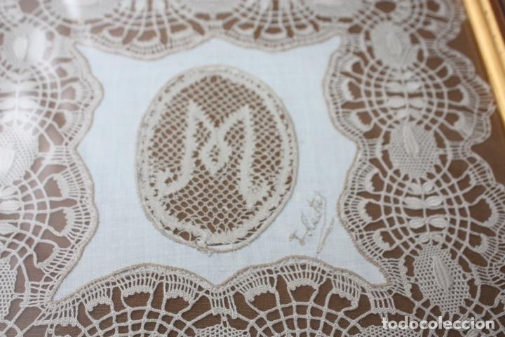 Antigüedades: PAÑUELO DE CAMARIÑAS ENMARCADO - Foto 2 - 194393297