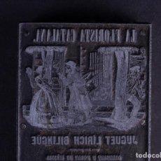 Antigüedades: ZINCOGRABADO, CLICHE PARA IMPRESION. LA FLORISTA CATALANA. Lote 194493883
