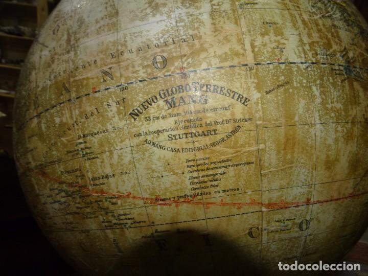 Antigüedades: GLOBO TERRÁQUEO CON BRÚJULA. MANG. PRINCIPIOS DEL SIGLO XX. ALEMANIA - Foto 4 - 194522772