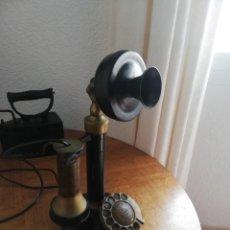Teléfonos: TELÉFONO ANTIGUO DE CANDELABRO - FABRICADO EN METAL - FUNCIONANDO. Lote 194690988