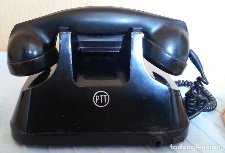Teléfonos: Teléfono año 1952 en baquelita y metal. Centralita. Fuerte y pesado. - Foto 10 - 194862666