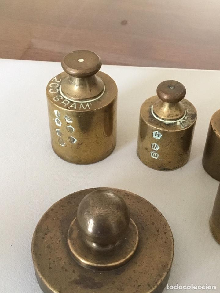 Antigüedades: Juego lote de Pesas, ponderales, bronce macizo con sus sellos - Foto 2 - 182912922