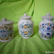 Antigüedades: LOTE DE 3 ALBARELOS TARROS DE FARMACIA,DERUTA ITALIA. Lote 195161517