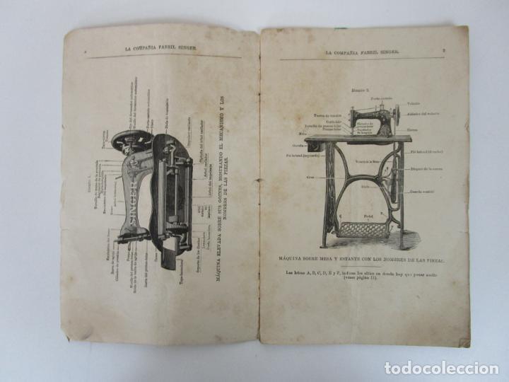 Antigüedades: Instrucciones Maquina Doméstica, para Uso (Lanzadera Oscilante) La Compañía Fabril Singer - Año 1890 - Foto 2 - 195196346