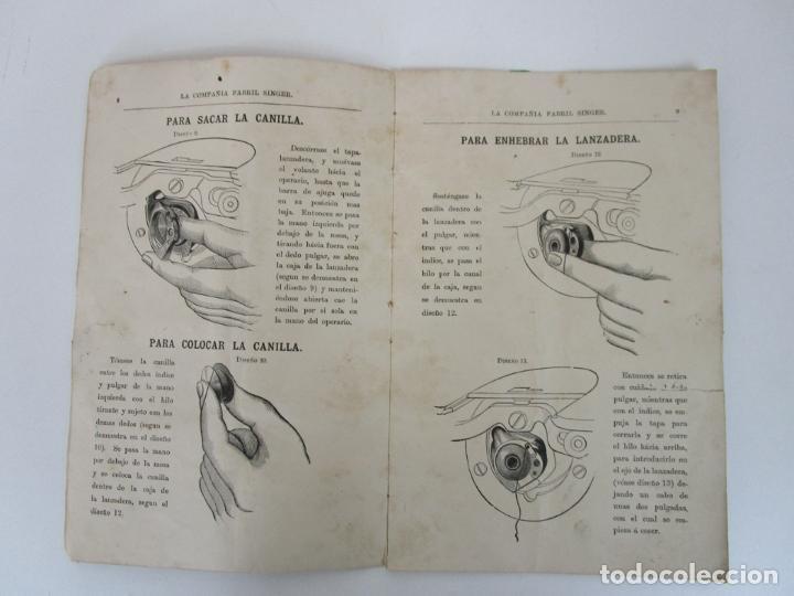 Antigüedades: Instrucciones Maquina Doméstica, para Uso (Lanzadera Oscilante) La Compañía Fabril Singer - Año 1890 - Foto 3 - 195196346